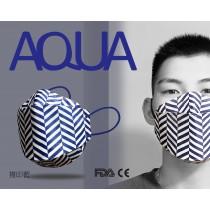 AQUA 立體印花雙鋼印水口罩十入(複印藍)